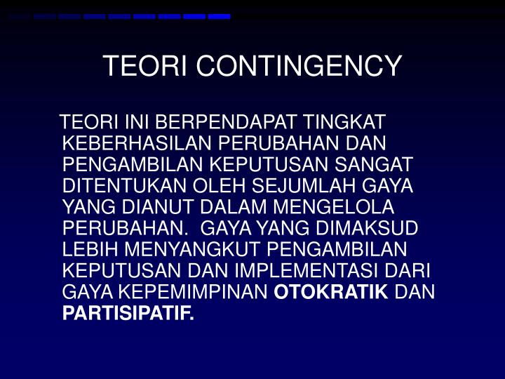 TEORI CONTINGENCY