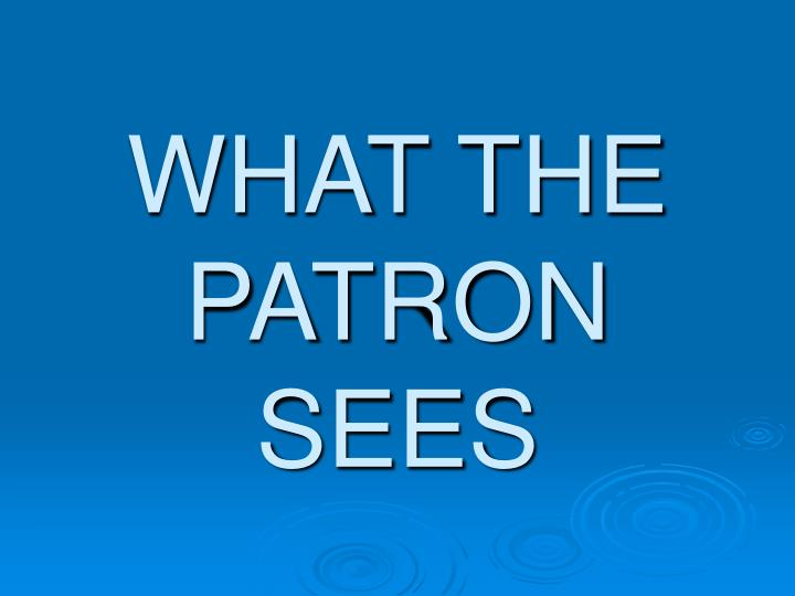 WHAT THE PATRON SEES