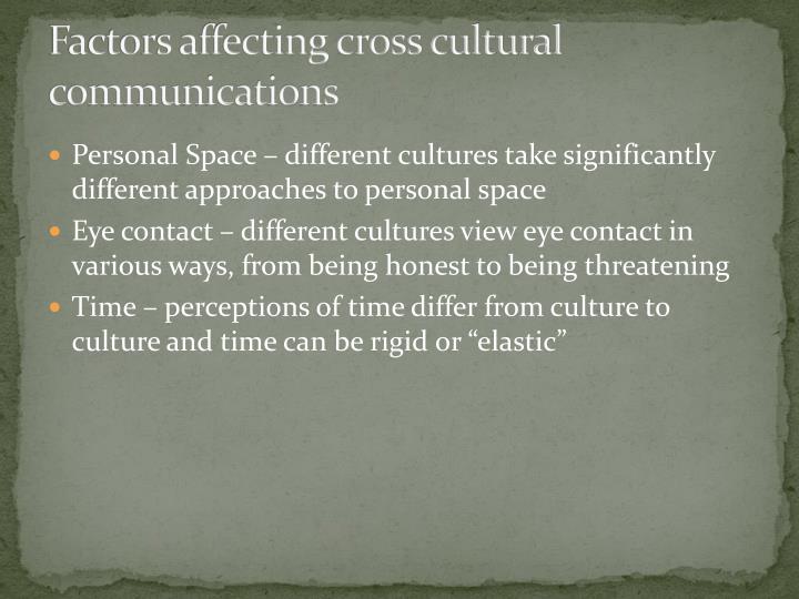 Factors affecting cross cultural communications