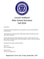 lincoln hubbard after school activities fall 2014