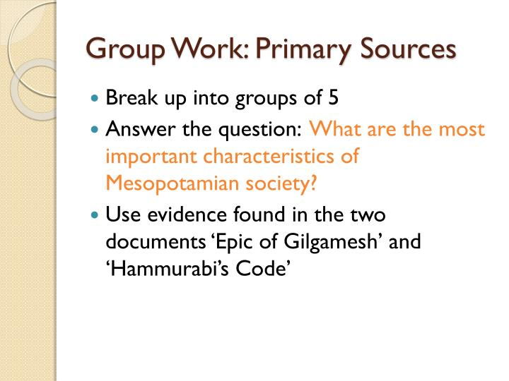 Group Work: Primary Sources