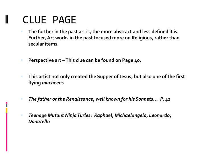 CLUE PAGE