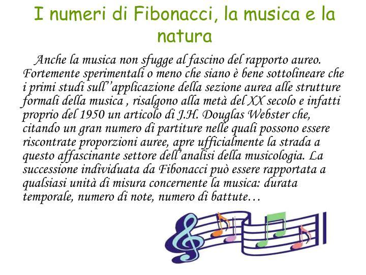 I numeri di Fibonacci, la musica e la natura