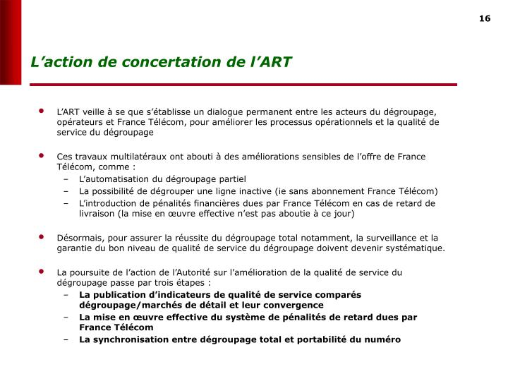 Laction de concertation de lART