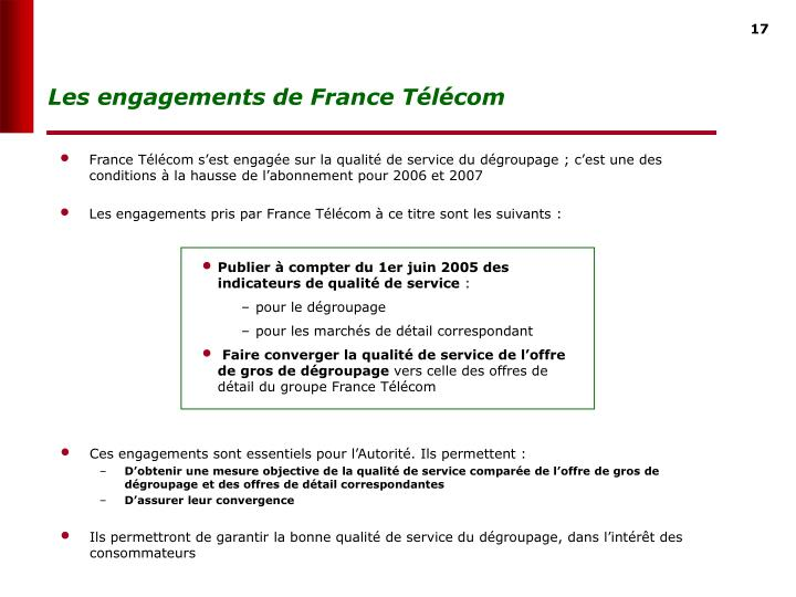 Les engagements de France Tlcom
