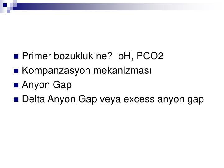 Primer bozukluk ne?  pH, PCO2
