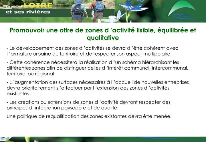 Promouvoir une offre de zones d'activité lisible, équilibrée et qualitative