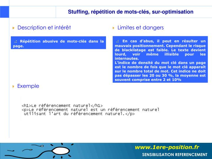 Stuffing, répétition de mots-clés, sur-optimisation