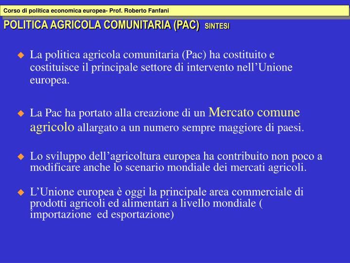 Corso di politica economica europea- Prof. Roberto Fanfani