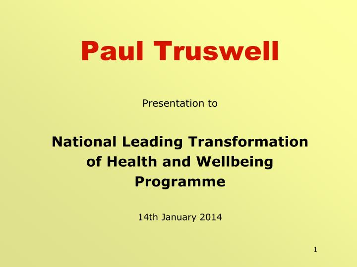 Paul truswell
