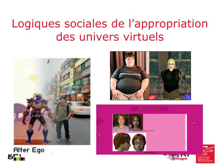 Logiques sociales de l'appropriation des univers virtuels