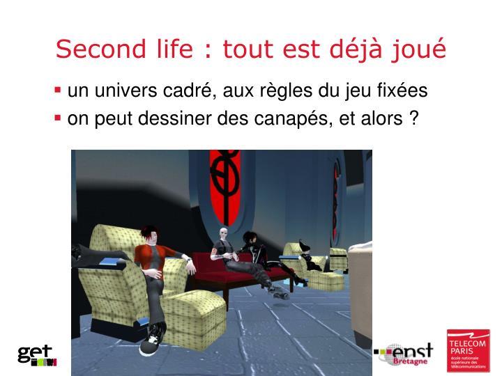 Second life :