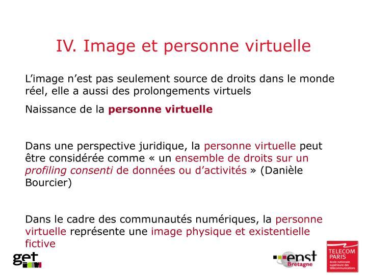 IV. Image et personne virtuelle