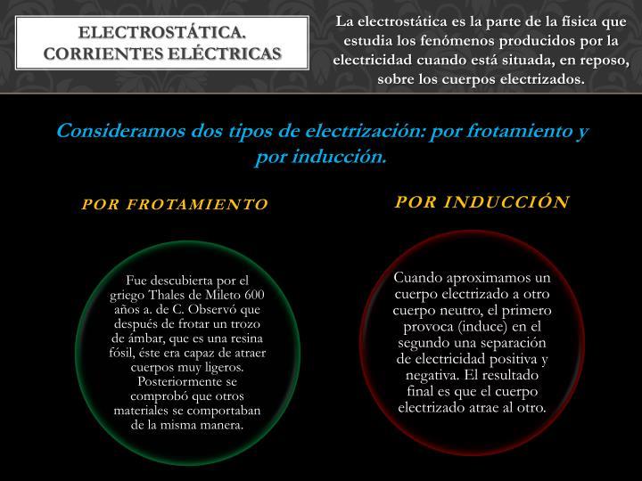 La electrostática es la parte de la física que estudia los fenómenos producidos por la electricidad cuando está situada, en reposo, sobre los cuerpos electrizados.