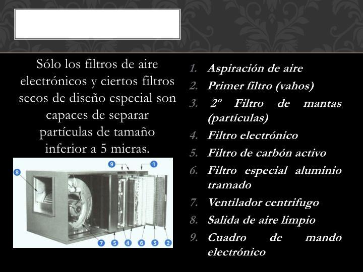 Sólo los filtros de aire electrónicos y ciertos filtros secos de diseño especial son capaces de separar partículas de tamaño inferior a 5 micras