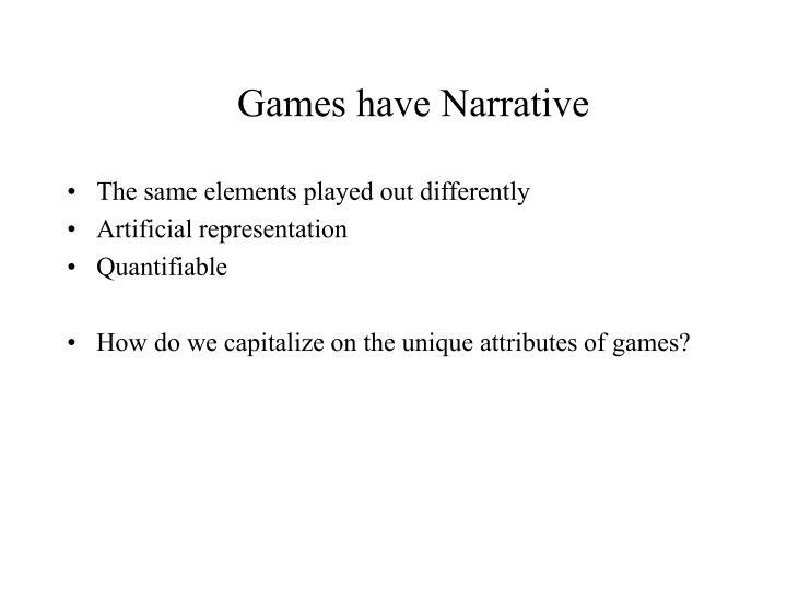 Games have Narrative