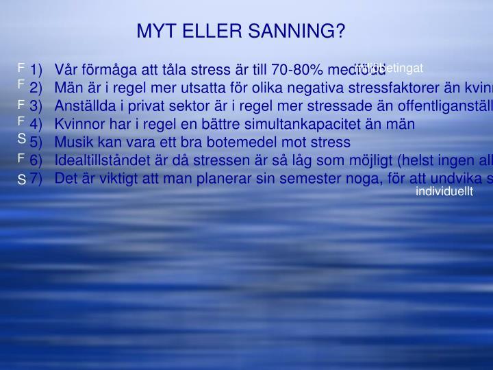MYT ELLER SANNING?