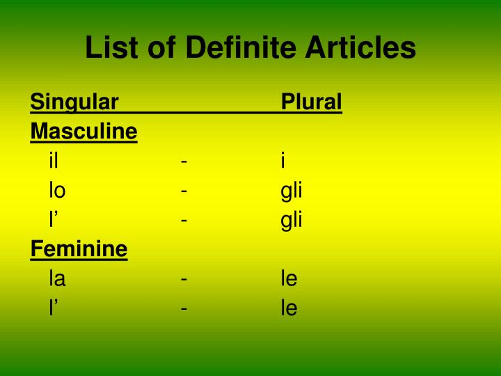 List of definite articles