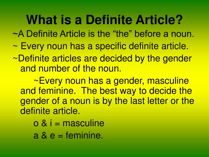 What is a definite article