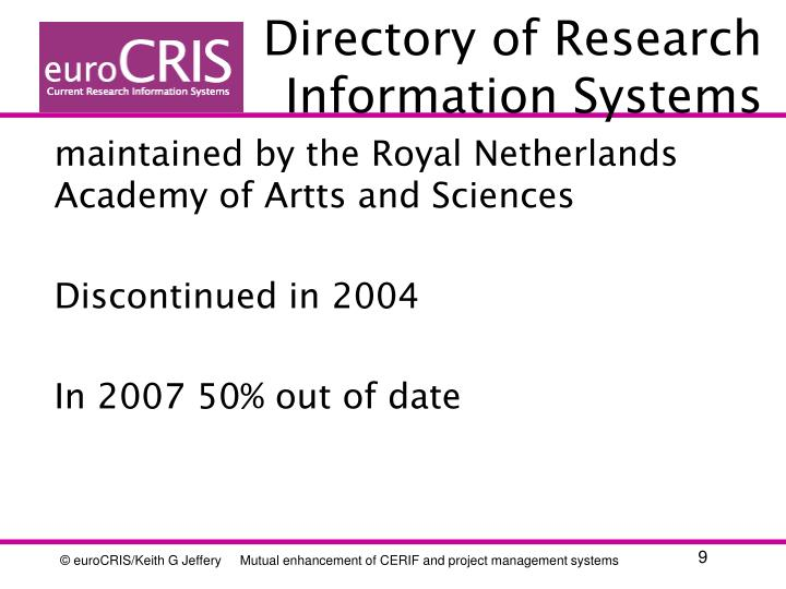 Directory of Research Information Systems