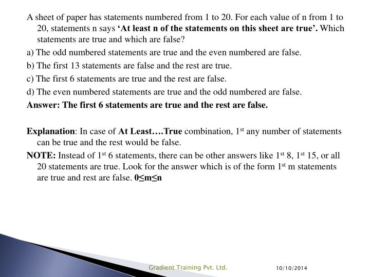 A sheet of paper has statements numbered from 1 to 20. For each value of n from 1 to 20, statements n says