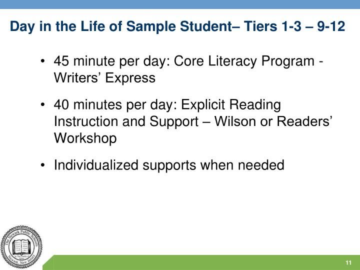 Day in the Life of Sample Student– Tiers 1-3 – 9-12