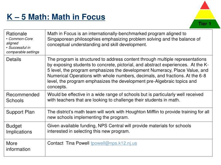 K – 5 Math: Math in Focus