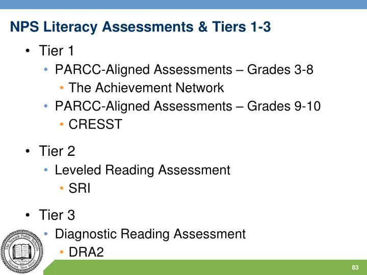 NPS Literacy Assessments & Tiers 1-3