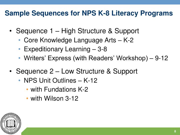 Sample Sequences for NPS K-8 Literacy Programs