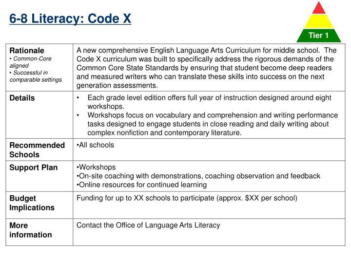 6-8 Literacy: Code X