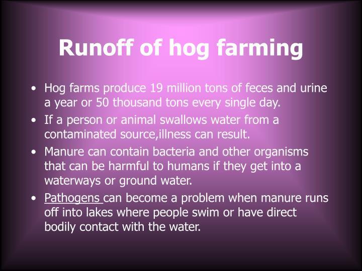 Runoff of hog farming