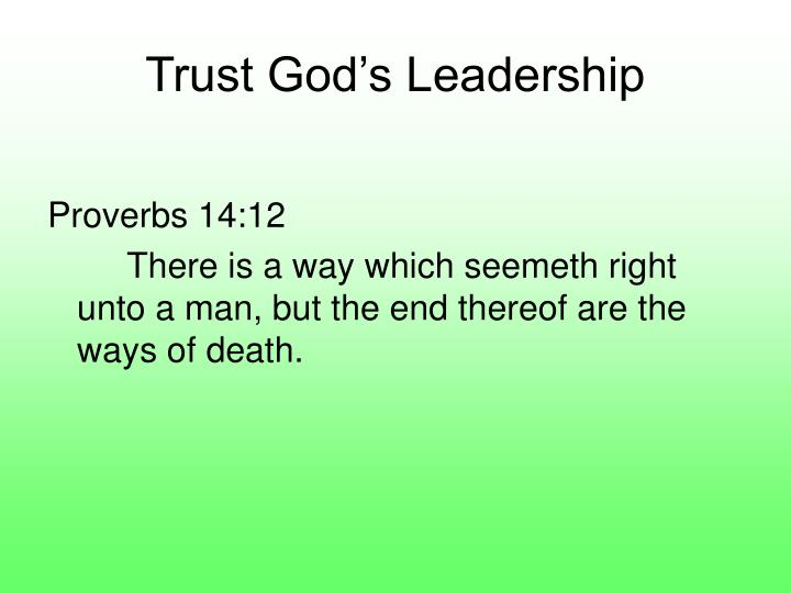 Trust God's Leadership