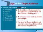 age of the target audience