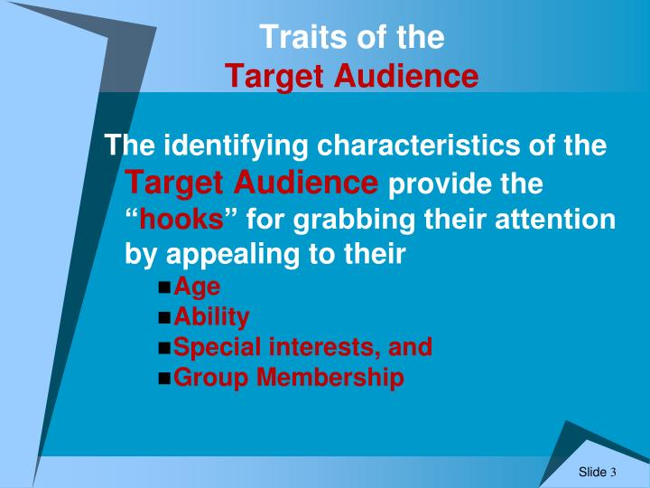 Traits of the target audience1