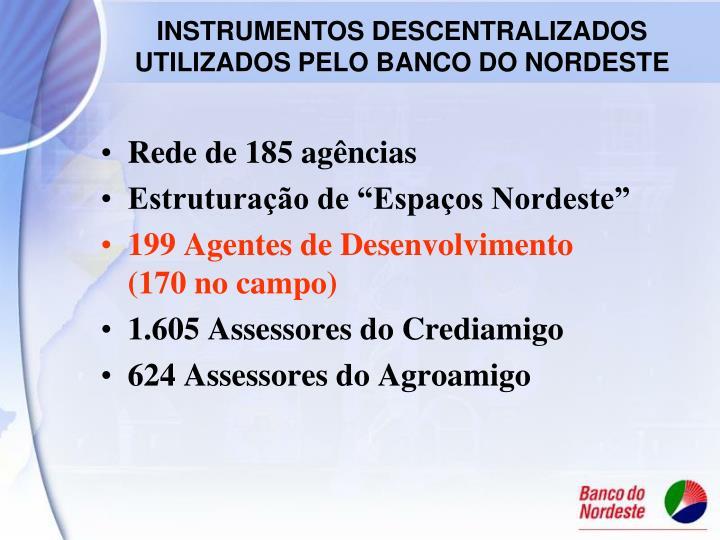 Rede de 185 agências
