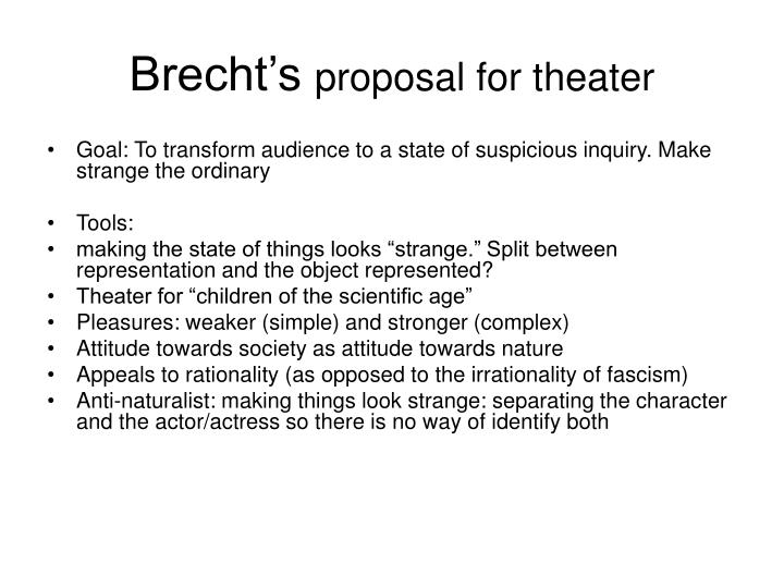 Brecht s proposal for theater