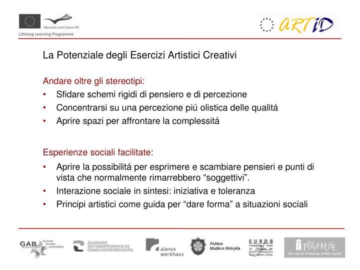 La Potenziale degli Esercizi Artistici Creativi