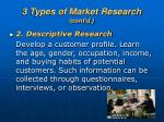3 types of market research cont d