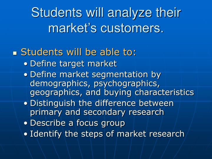 Students will analyze their market s customers
