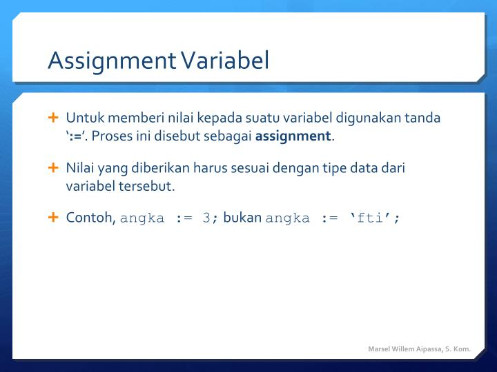 Assignment Variabel