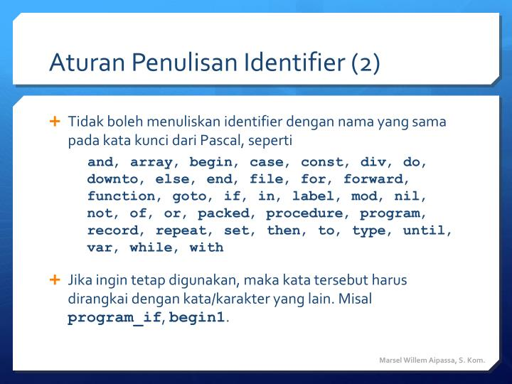 Aturan Penulisan Identifier (2)