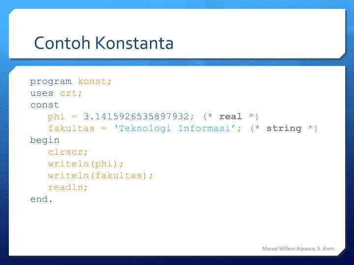 Contoh Konstanta