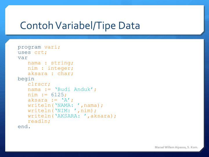Contoh Variabel/Tipe Data