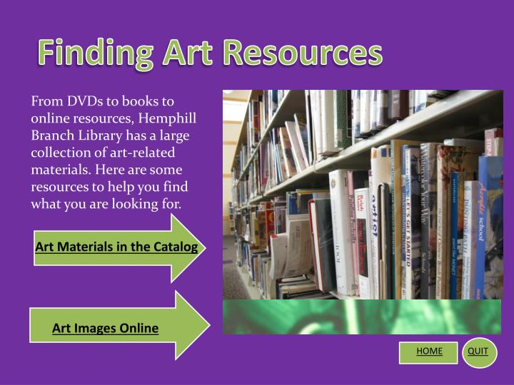 Finding Art Resources