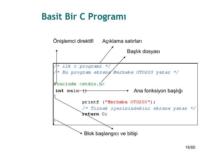 Basit Bir C Programı