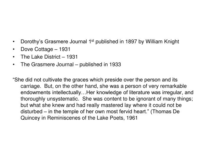 Dorothy's Grasmere Journal 1