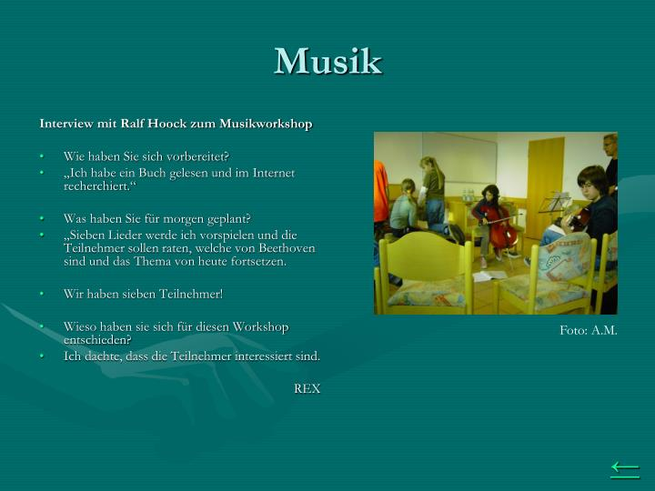 Interview mit Ralf Hoock zum Musikworkshop