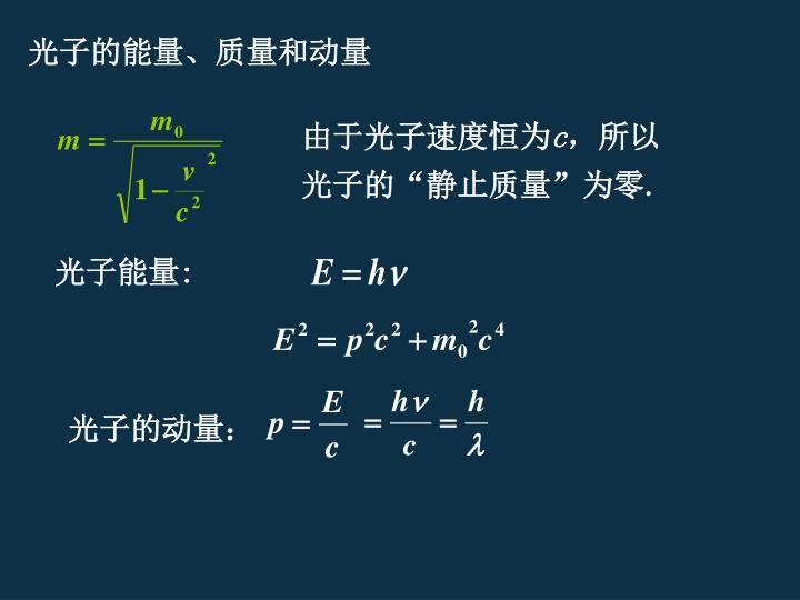 光子的能量、质量和动量