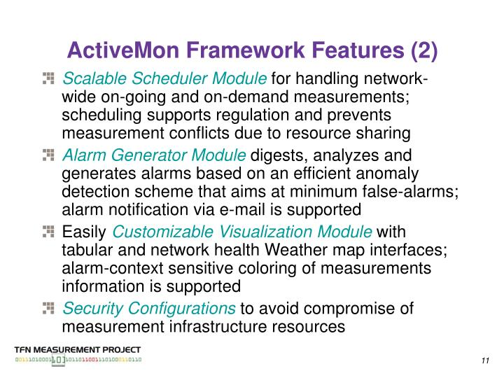 ActiveMon Framework Features (2)