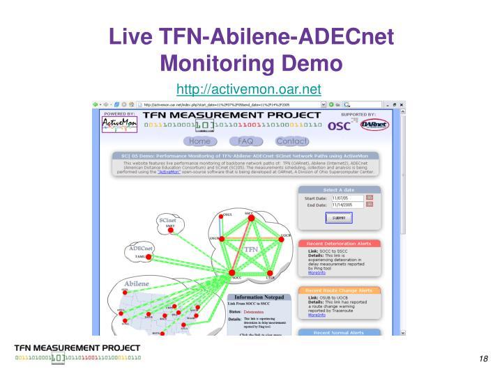 Live TFN-Abilene-ADECnet